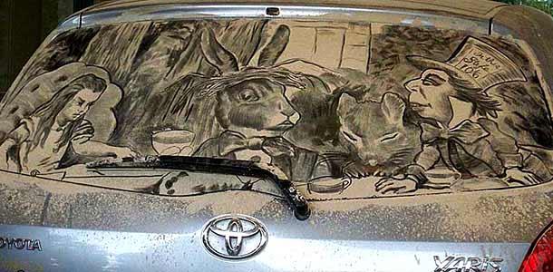 Scott Wade - картины на пыльных стёклах автомобилей