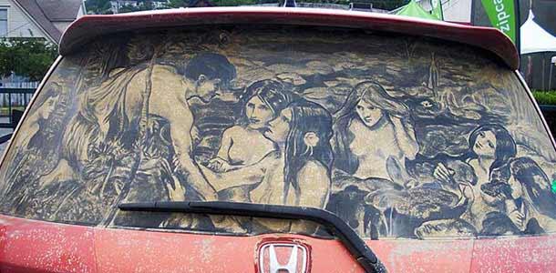 Scott Wade - рисование на грязных автомобилях
