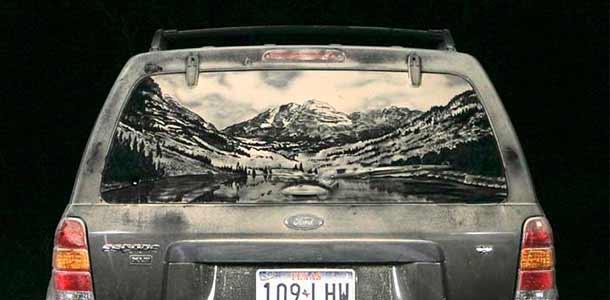 Scott Wade - рисунки на грязных авто