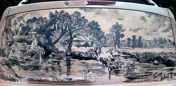 Scott Wade - рисует на грязных автомобилях