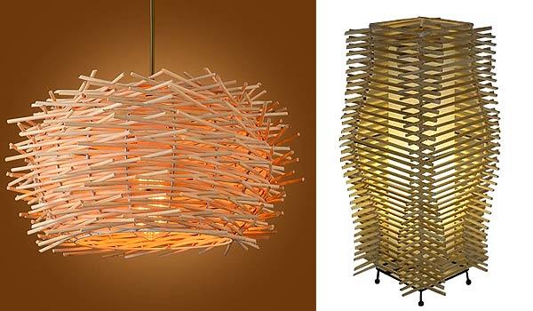 Абажур и светильник из китайских палочек