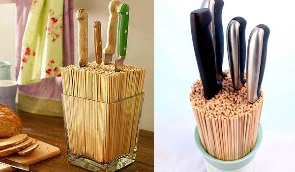Подставка для ножей из палочек